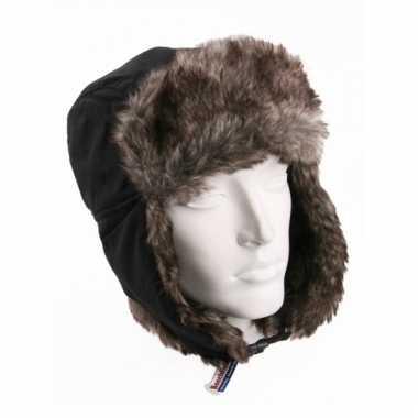 Russische beechfield sherpa muts zwart bruin