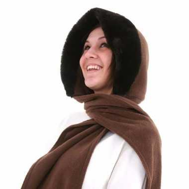 Russische fleece capuchon sjaal nepbont camel dames