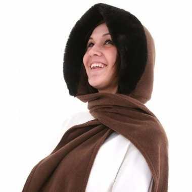 Russische fleece capuchon sjaal nepbont donkerbruin dames