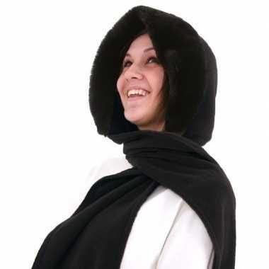 Russische fleece capuchon sjaal nepbont zwart dames