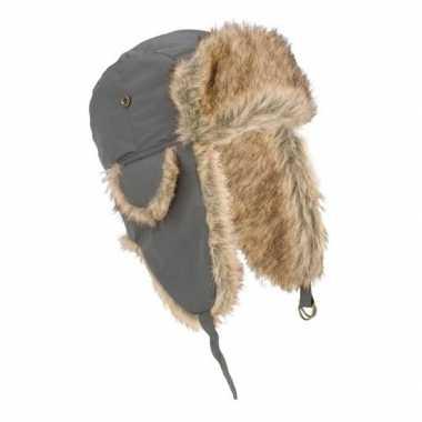 Russische grijze bontmuts oorflappen volwassenen