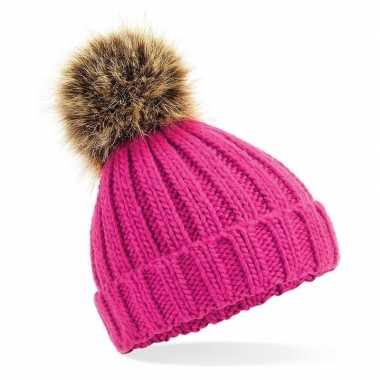 Russische grof gebreide wintermuts roze bruine pompon dames