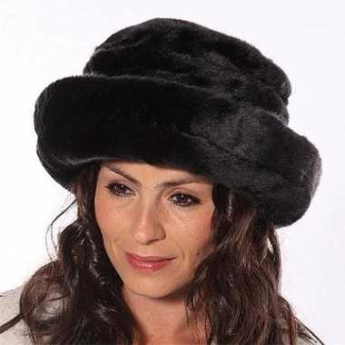 Russische  Luxe dames bontmuts zwart