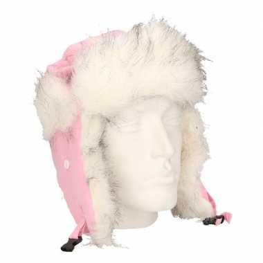 Russische roze bontmuts oorflappen dames