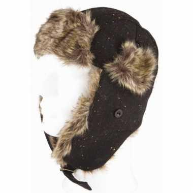 Russische siberische bontmuts zwart