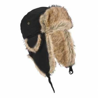 Russische zwarte bontmuts oorflappen volwassenen