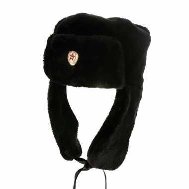 Zwarte bontmuts russische badge volwassenen